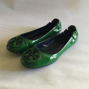Tory Burch Minnie leather flats green sz.9 $75